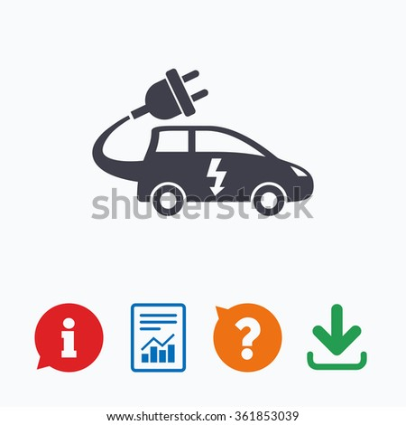Electric car sign icon. Hatchback symbol. Electric vehicle transport. Information think bubble, question mark, download and report.