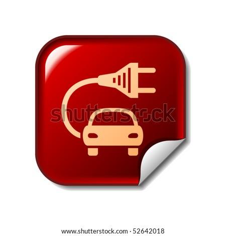 Electric car sticker - stock vector