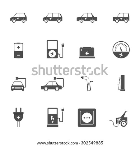 Electric car transport and charging station with socket and wire flat black icon set isolated vector illustration - stock vector