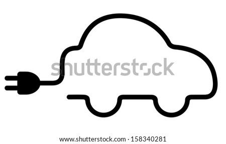 Electric car. Vector illustration. Isolated on white background - stock vector