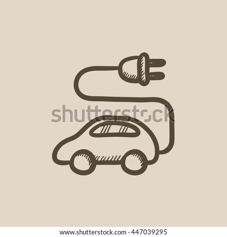 Electric car vector sketch icon isolated on background. Hand drawn Electric car icon. Electric car sketch icon for infographic, website or app. - stock vector