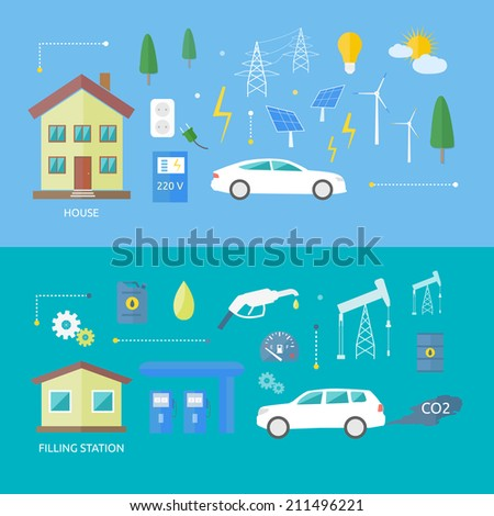 Electric cars and petrol car. Ecology concept CO2. Electro car with sun energy in flat style - stock vector