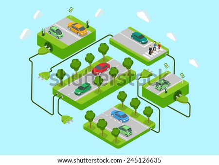 Electric cars flat 3d web isometric alternative eco green energy lifestyle infographic concept vector. Road platforms, refill stations, power cord connection. Ecology power consumption collection. - stock vector