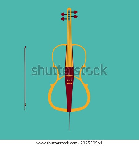 Electric cello with bow. Isolated musical instrument on teal background. Vector illustration in flat style design. - stock vector