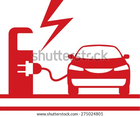 Electric charging station - stock vector