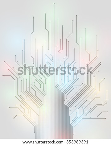 electric circuit and arrow, abstract illustration, vector