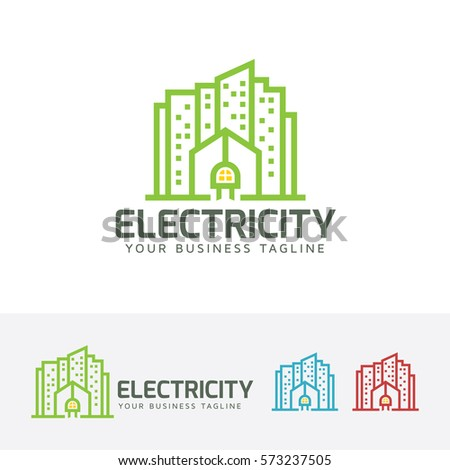 Electric City Building Line Energy Power Vector Logo Template