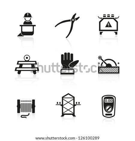 Electric construction icon set - stock vector