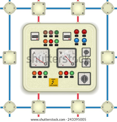 electric control panel with junction boxes. It also could be used as a seamless pattern. - stock vector