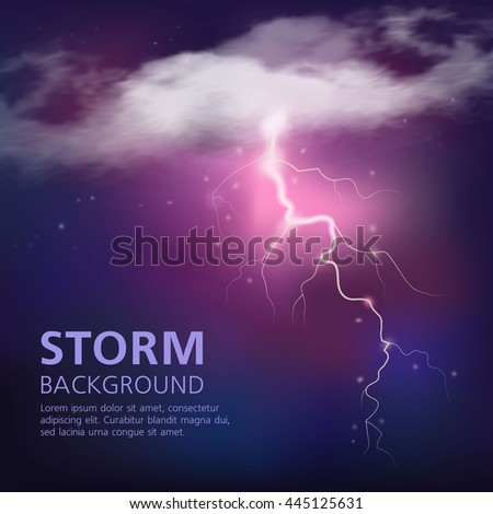 Electric discharge in sky background with lightning from half transparent clouds on purple blue color vector illustration - stock vector