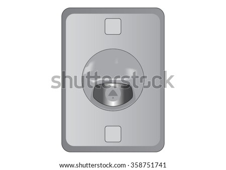Electric Doorbell  with button. Vector illustration.
