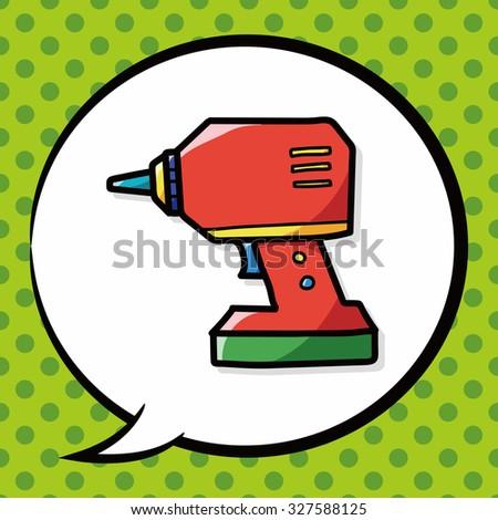 Electric drill color doodle, speech bubble - stock vector