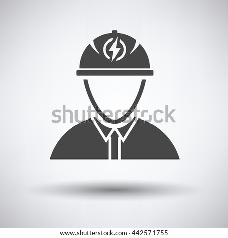 Electric engineer icon on gray background, round shadow. Vector illustration. - stock vector
