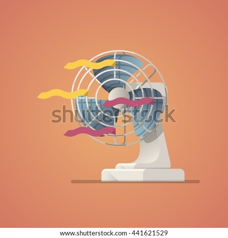 electric fan, flat style vector illustration - stock vector