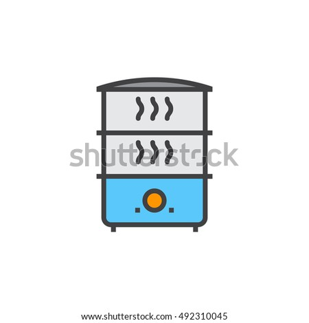 Electric Food Steamer line icon, filled outline vector sign, linear colorful pictogram isolated on white. logo illustration
