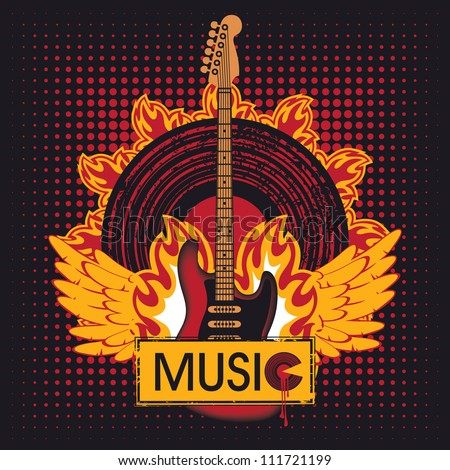 electric guitar against the vinyl disc on fire - stock vector