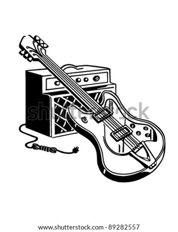 Electric Guitar And Amplifier - Retro Clipart Illustration - stock vector