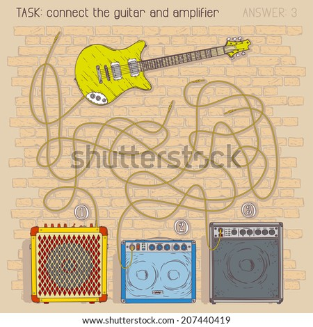 Electric guitar and amplifiers. Vector maze game - stock vector