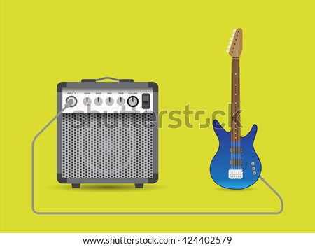 Electric guitar and combo, vector illustration. - stock vector
