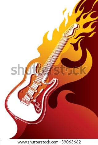 Electric guitar banner with stylized fire. Vector illustration. - stock vector