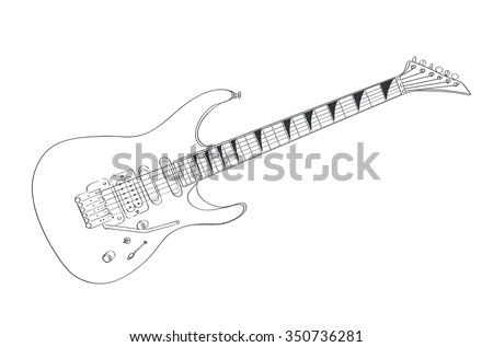 electric guitar drawing on white. line art vector illustration - stock vector