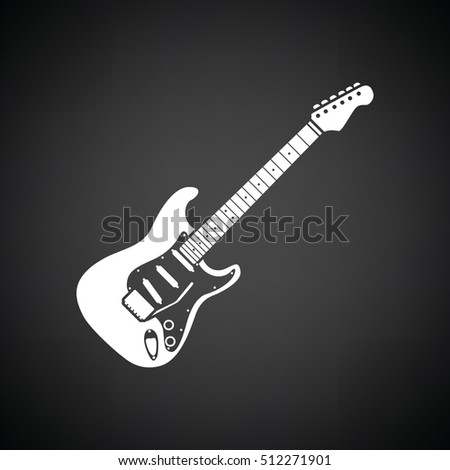 Electric guitar icon. Black background with white. Vector illustration.