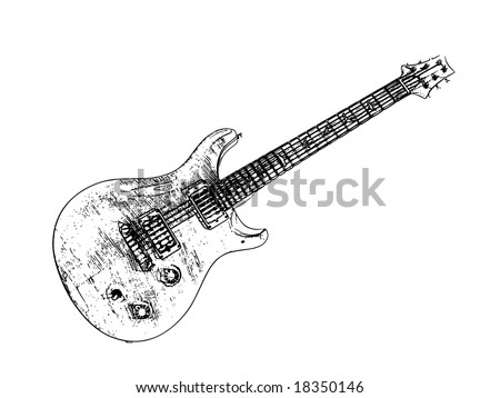 Electric guitar isolated, vector illustration