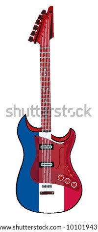 electric guitar made in french style. vector illustration - stock vector