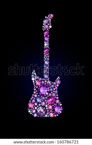 electric guitar made of gems - stock vector