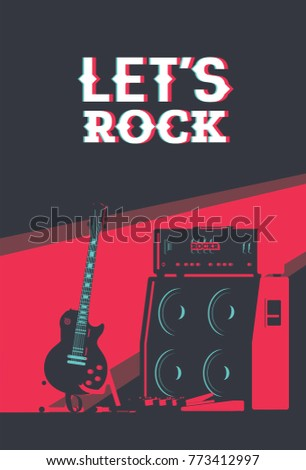 Electric Guitar Next Tube Amplifier Flat Stock Vector HD Royalty Free 773412997