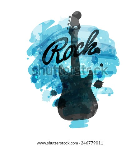 Electric guitar silhouette on a splashed watercolor blue color background and Rock sign. Watercolor hand drawn style, isolated vector art illustration icon  - stock vector