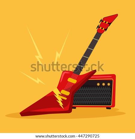 Electric guitar. Vector flat cartoon icon illustration - stock vector