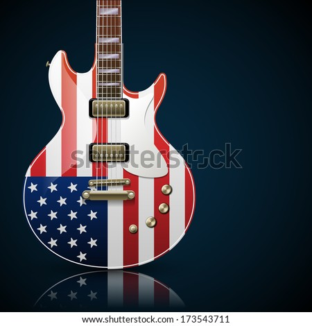 Electric guitar with American flag, eps10 vector - stock vector
