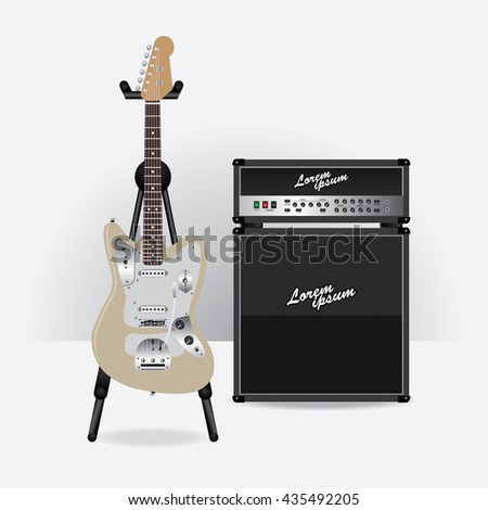 Electric Guitar with Guitar amplifier vector illustration - stock vector