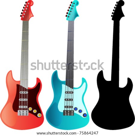Electric guitars red blue silhouette vector illustration