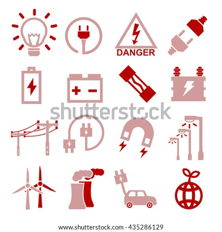 electric icon set - stock vector