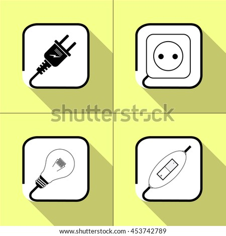 Electric icon. Socket, lamp, electric plug, switch, power icon. on a yellow background. Vector - stock vector
