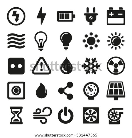 Electric Icons Set on White Background. Vector - stock vector