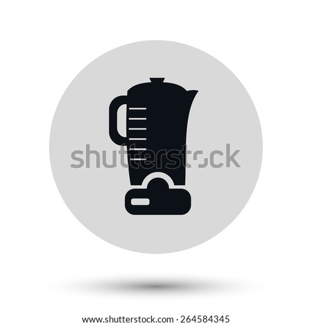 Electric kettle - black vector icon on a round gray button with shadow - stock vector