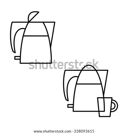 Electric kettle icon isolated on white background - stock vector