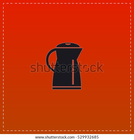 Electric kettle Icon Vector. Black flat button on red background