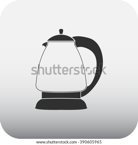 Electric kettle simple icon on square background