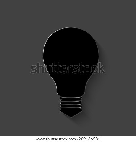 Electric lamp icon - black vector illustration with shadow on dark background - stock vector
