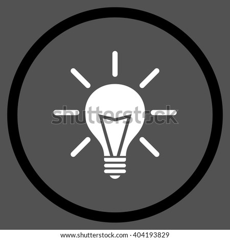 Electric Light vector bicolor icon. Picture style is flat electric light rounded icon drawn with black and white colors on a gray background. - stock vector