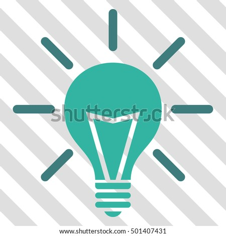 Electric Light vector icon. Image style is a flat cobalt and cyan pictograph symbol on a hatched diagonal transparent background.