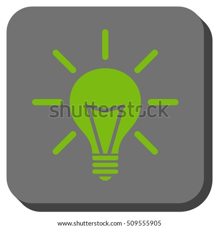 Electric Light vector icon. Image style is a flat icon symbol in a rounded square button, light green and gray colors.