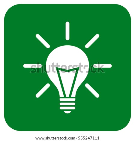 Electric Light vector icon. Image style is a flat icon symbol inside a rounded square button, white and green colors.