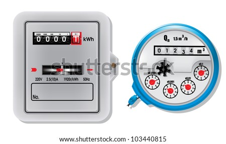 Electric meter and water meter - stock vector