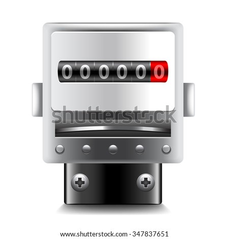 Electric meters isolated on white photo-realistic vector illustration - stock vector