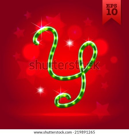 Electric modern green garland christmas new year decorative font capital letter Y - stock vector